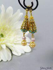 Glass Jewels Ohrringe Ohrstecker Gold Perlen Ausgefallen Türkis Rosa Gelb  #D024