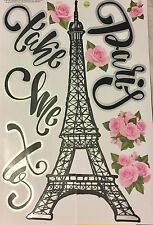TAKE ME TO PARIS wall stickers 11 decals wall decor EIFFEL TOWER flowers