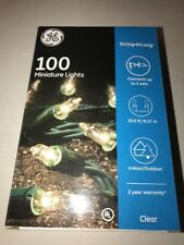Christmas Holiday GE 100 Mini Miniature Lights Set Clear with Green Wire
