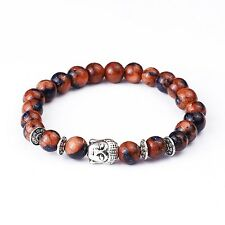 Tiger Eye Buddha Bracelet Glitter 8mm Beads Stretchable Silver Gemstone 18cm