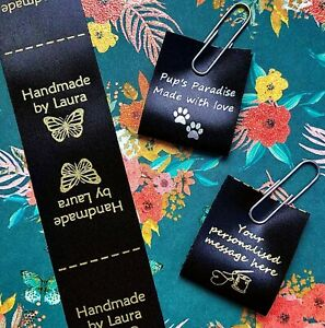 """""""Handmade"""" personalised sew in craft labels for fabric, black satin ribbon 25 mm"""