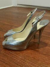 Jimmy Choo Pumps Sling Back Peep Toe Shoes Silver Size 41