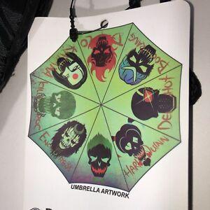 DC Comics Suicide Squad Umbrella Compact Green Multi Character Harley Quinn New