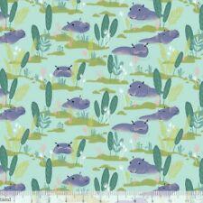 Blend Fabrics, Congo hippos , aqua hippo fabric by the FQ+