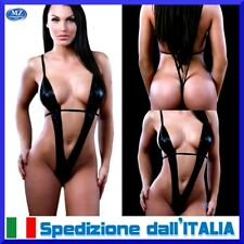 Completo completino intimo lingerie sexy hot body babydoll da donna in pvc latex