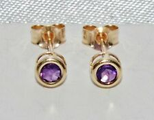 9ct Gold Amethyst Ladies Stud Earrings -