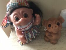Vintage 1977 Thomas Dam HIPPIE Troll Doll Made In Denmark Plus Troll BANK