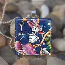 Day Of The Dead Dia De Los Muertos Sugar Skull Glass Pendant Necklace design 5