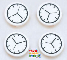 *NEW* LEGO set of 4 Clock Flat Round Tiles 2x2 -Watch Time City Creator Building