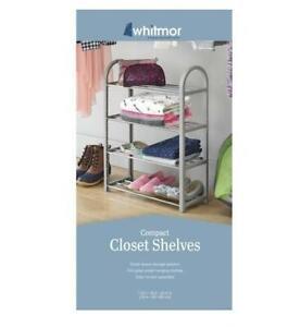 Whitmor Paloma Gray Compact Closet Shelves 4 Tier Storage Shoe Clothes Organizer