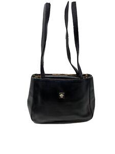 Auth Gianni Versace Vintage Handbag 90's Black Leather Shoulder Bag Leopard Trim