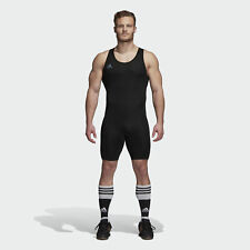 New Adidas Powerlift Mens Weightlifting Singlet Suit Gym Training Black rrp £45
