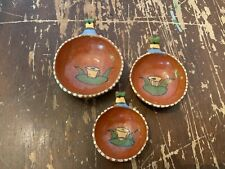 Vintage Mexican Tonala Art Pottery 3 Piece Measuring Cup Set