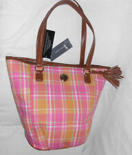 """Tommy Hilfiger Tote NWT Plaid 16.5"""" X 13.5"""" Strap Drop 10"""" Fabric Faux Leather"""