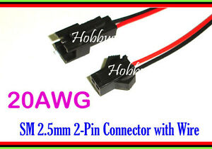 2 Pin male female connector housing SM 30cm 20AWG wire cable for RC battery x 15