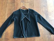 Ann Taylor BLACK 100% boiled wool jacket cardigan blazer Size M