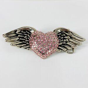 "Winged Heart Belt Buckle Pink Rheinstones Olander Silver Star 5"" x 2 1/2"" USA"