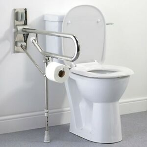 STAINLESS STEEL Drop Down Toilet Support Rail Grab Handle Rail with Support Leg