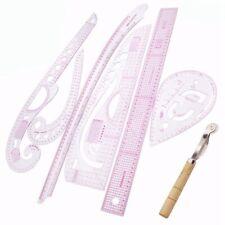 7PZ / Set Righello Sarto Kit di Misurazione Trasparente Disegno Da Cucire R B9F1