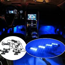 Blue 4x 3LED Car Charger Glow Interior Decorative Atmosphere Neon Light Lamps