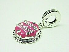Authentic PANDORA Silver Pink Happy Birthday Cake Charm #798888c01 Hinge Bo