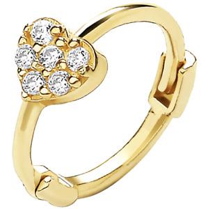9ct Gold Earring Upper Ear Helix Cartilage Heart Stone Set 9 CARAT YELLOW GOLD