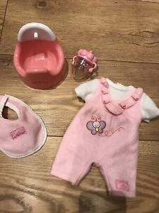 Tiny Tears Outfit . Bib , Potty , Bottle And Romper Suit For Tiny Tears