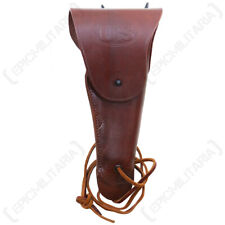 US M1916 Colt Pistol Holster - Mid Brown USA REPRO Leather Belt Pouch
