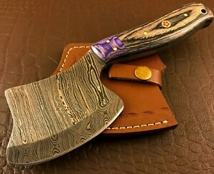 Handmade Damascus Steel Hatchet-Axe-Functional-Hunting-Camping-Outdoor-dh50