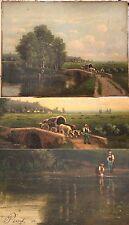 Peinture 19e siècle (1880)   Paysage animé Lavandières par Henri-Francois Perret