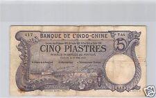 Bank- des'Indochina Saigon 5 Piaster 14 Juni 1913 T.44 Nr. 417 Pick 37b