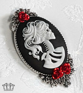 Gothic Lolita LADY SKELETON SKULL CAMEO BROOCH Pin Red Rose Punk White Black P51