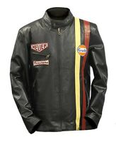 Steve McQueen Le Man Classic Vintage Genuine Leather Gulf Black Jacket-With Tags