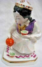 UZBEK GIRL.TEA-DRINKING. Russian iridescent porcelain doll DULEVO