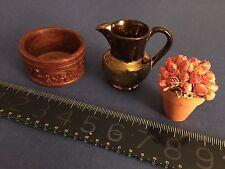 VINTAGE for DOLL KITCHEN: flower pot, antique English lustre pitcher wood basin