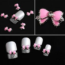 10PCS DIY 3D Alloy Rhinestone Bow Tie Butterfly Nail Art Decoration Stickers New