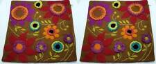 """Pair (2) Crate & Barrel Pillow Covers 18"""" x 18"""" Embroidered Frills Applique EUC"""