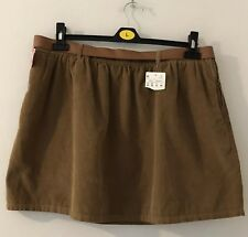 Brand New Pull & Bear Tan Autumn Corduroy Cord Skirt With Belt Size 12