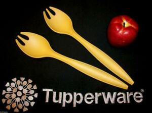 Tupperware GOLD Salad Forks Tongs ~Spaghetti Pasta Servers ~Dinner Rolls ~Fruit