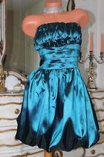 Jade Green Shiny Faux Satin Strapless Puffa Dress in size 12