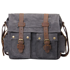 Peacechaos Messenger Bag Leather Canvas Shoulder Bookbag Laptop Bag + Dslr Slr C