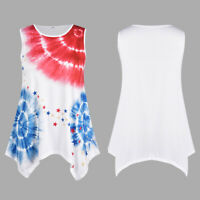 Plus Size Women Loose T Shirt Tank Top New American Flag Patriotic Summer Blouse