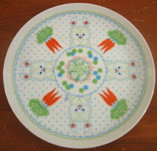 Shufford Baby Gourmet Plate Enola Childs Rabbits Carrots Dots Porcelain Vintage