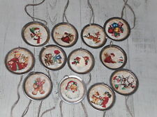 10 Primitive Nostalgic Christmas Santa Snowman Metal Rim Hang Tags Gift Ties