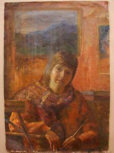 Russian Ukrainian Soviet Oil Painting Portrait realism girl child young artist