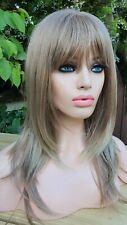 Light Ash Sandy Brown Dark Blonde Human Hair Wig Bangs Fringe Layered Bob Wig