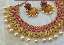 Bollywood CZ Handmade Jewelry Bridal Red Green Choker Necklace Statement Set