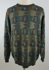 Hand Knitted 100% Pima Cotton Sweater-ABSTRACT-1 Of A Kind-PAVO REAL-XL-$349