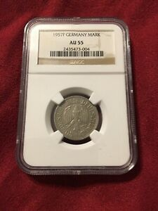 1957-F Germany 5 Mark - NGC AU55 Silver ((  TOP 10 )))