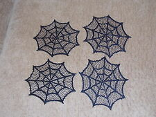 """HERITAGE LACE"" BLACK SPIDER WEB SET OF 4 COASTERS 6 INCH ITEM 8036"